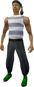 Pirate outfit (grey) equipped (male).png: Pirate bandana (grey) equipped by a player
