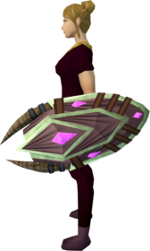 Runic shield equipped.png: Runic shield equipped by a player
