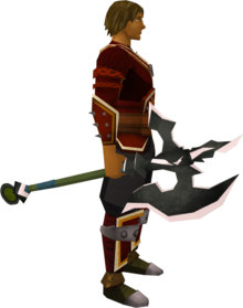 Lucky Dharok's greataxe equipped.png: Lucky Dharok's greataxe equipped by a player