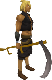 Scythe equipped.png: Scythe equipped by a player