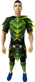 Green dragonhide armour (g) equipped (male).png: Green dragonhide body (g) equipped by a player