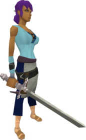 Intricate decorative sword equipped.png: Intricate decorative sword equipped by a player