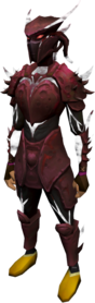 Elite sirenic armour set (blood) equipped.png: Elite sirenic mask (blood) equipped by a player