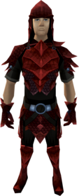 Red dragonhide armour equipped (male).png: Red dragonhide boots equipped by a player