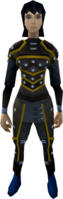 Studded leather armour (g) equipped (female).png: Studded body (g) equipped by a player
