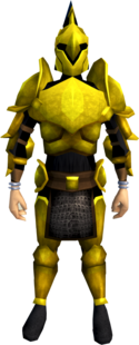 Rune armour (Gilded) (heavy) equipped (male).png: Rune full helm (Gilded) equipped by a player