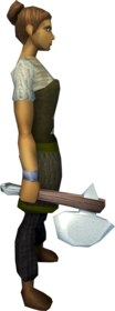 Sacred clay hatchet equipped.png: Sacred clay hatchet equipped by a player