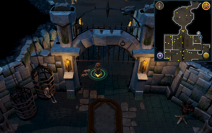 Scan clue Taverley Dungeon south of hill giant chamber.png