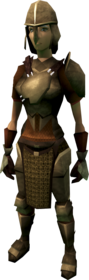 Bronze armour (heavy) equipped (female).png: Bronze platebody equipped by a player