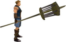 Rat pole (empty) equipped.png: Rat pole equipped by a player