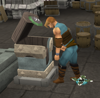 A player thieving a chest