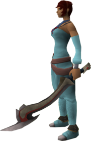 Jessika's sword equipped.png: Jessika's sword equipped by a player
