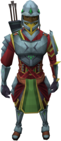 Skirmisher armour equipped (male).png: Skirmisher cuirass equipped by a player