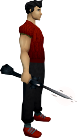 Seismic wand (Third Age) equipped.png: Seismic wand (Third Age) equipped by a player