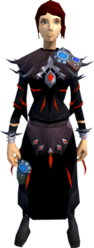Augmented robes of subjugation equipped (female).png: Augmented garb of subjugation equipped by a player