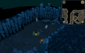 Scan clue Taverley Dungeon in passage north of entrance.png