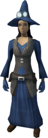 Runecrafter robes (blue, goggles on) equipped (female).png: Runecrafter hat (blue, goggles on) equipped by a player