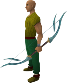 Crystal bow equipped.png: Crystal bow equipped by a player