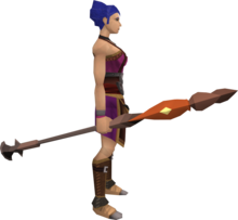 Fire staff (Dungeoneering) equipped.png: Fire staff (Dungeoneering) equipped by a player