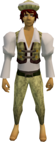 Audience costume (male, yellow) equipped.png: A stylish hat (male, yellow) equipped by a player