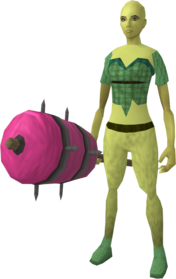 Candy floss maul equipped.png: Candy floss maul equipped by a player