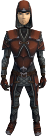 Hard leather armour equipped (female).png: Hard leather chaps equipped by a player