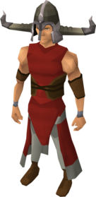 Warrior helm equipped.png: Warrior helm equipped by a player