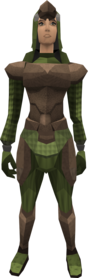 Archleather armour equipped (female).png: Archleather vambraces equipped by a player