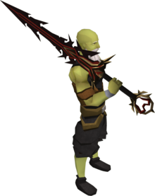 Lucky Zamorak godsword equipped.png: Lucky Zamorak godsword (passive) equipped by a player