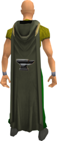 Hooded smithing cape equipped.png: Hooded smithing cape equipped by a player