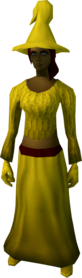 Robe outfit (yellow) equipped (female).png: Robe bottoms (yellow) equipped by a player