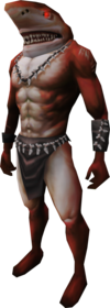 Fury shark outfit equipped (male).png: Fury shark head equipped by a player