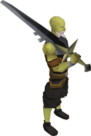 Lucky Saradomin sword equipped.png: Lucky Saradomin sword equipped by a player