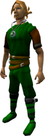 Jade amulet equipped.png: Botanist's amulet equipped by a player