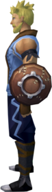 Leather shield equipped.png: Leather shield equipped by a player