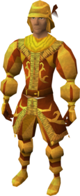 Golden mining suit equipped.png: Golden mining gloves equipped by a player