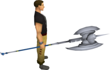 White halberd equipped.png: White halberd equipped by a player