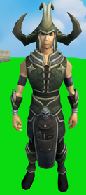 Linza's armour equipped (male).png: Linza's helm equipped by a player