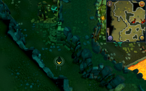 Scan clue Brimhaven Dungeon lower level in passage south of west chamber with staircase to upper level.png