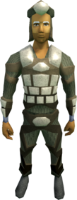 Morrigan's armour equipped (male).png: Morrigan's coif equipped by a player