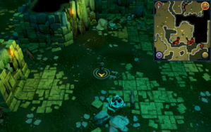 Scan clue Brimhaven Dungeon lower level a few steps into central wild dog chamber.png