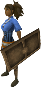Bronze square shield equipped.png: Bronze square shield equipped by a player