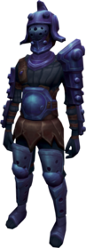 Bane armour + 1 equipped (female).png: Bane armoured boots + 1 equipped by a player