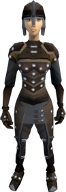 Studded leather armour equipped (female).png: Studded leather coif equipped by a player