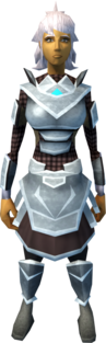 Gorgonite armour (light) equipped (female).png: Gorgonite chainbody equipped by a player