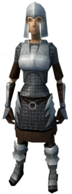 Iron armour (light) equipped (female).png: Iron med helm equipped by a player