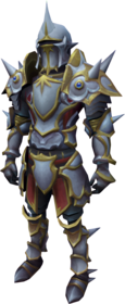 Custom-fit trimmed spiked masterwork armour equipped.png: Custom-fit trimmed spiked masterwork boots equipped by a player