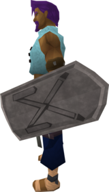Intricate decorative shield equipped.png: Intricate decorative shield equipped by a player