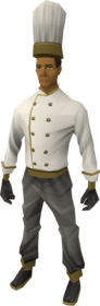 Sous chef's outfit equipped.png: Sous chef's jacket equipped by a player