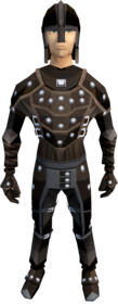 Studded leather armour equipped (male).png: Studded leather coif equipped by a player